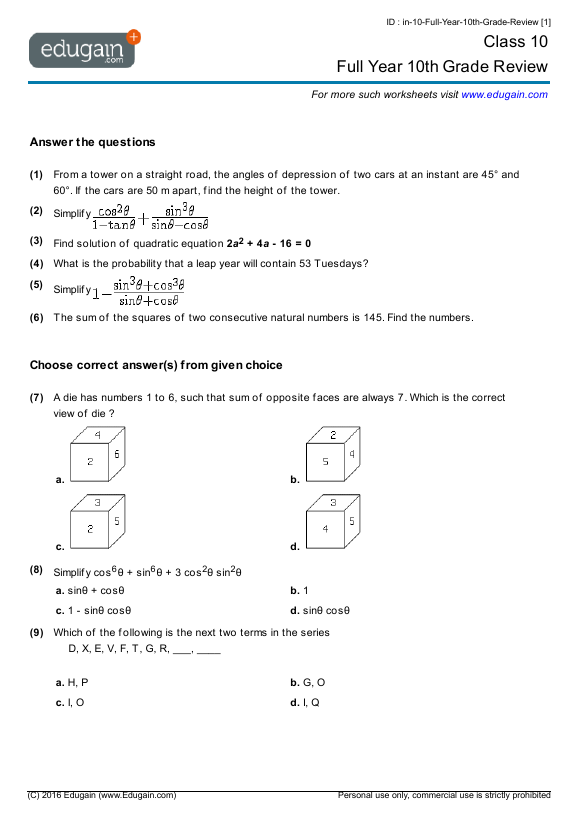 Worksheets 10th Grade Worksheets grade 10 math worksheets and problems full year 10th review contents review