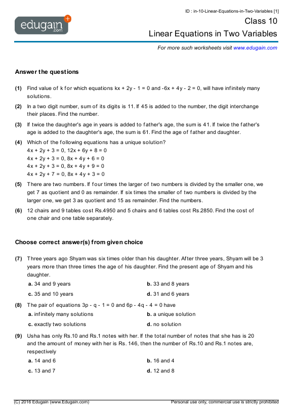 Grade 10 Math Worksheets and Problems: Linear Equations in Two ...Contents: Linear Equations in Two Variables