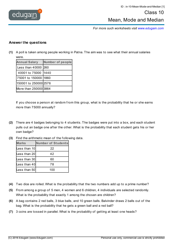 Grade 10 Math Worksheets and Problems Mean Mode and Median – Mean Median Mode Worksheets
