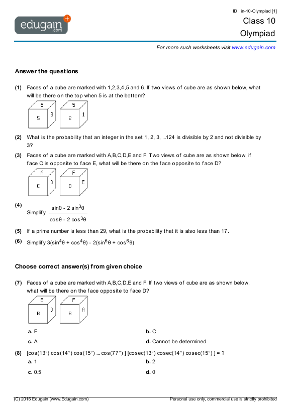 Grade 10 Olympiad Printable Worksheets Online Practice Online – Grade 10 Math Worksheets