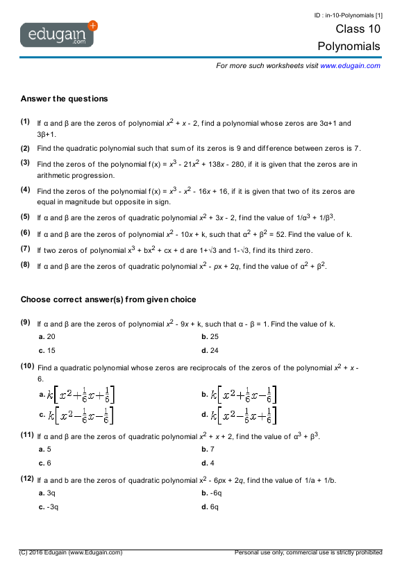 Grade 10 Math Worksheets and Problems Polynomials – Polynomials Worksheet