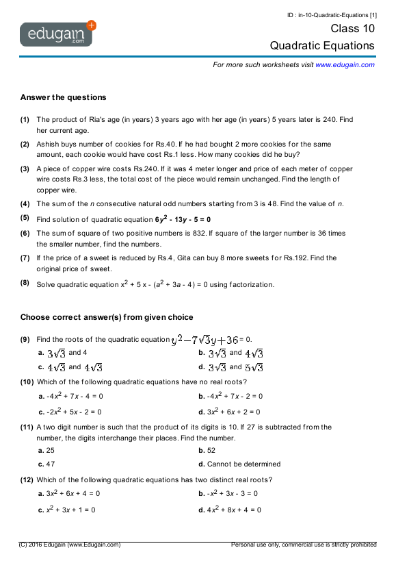 Grade 10 Math Worksheets and Problems Quadratic Equations – Quadratic Equations Worksheet with Answers