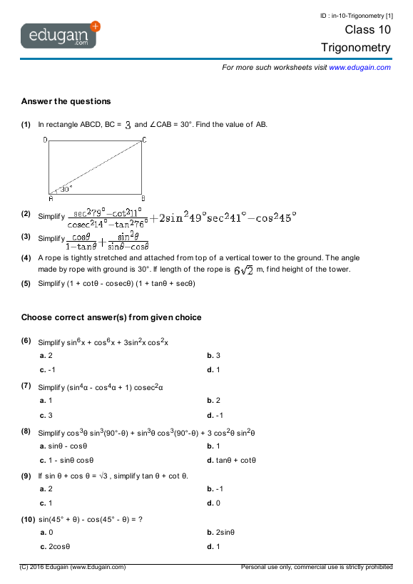 Grade 10 Math Worksheets and Problems Trigonometry – Math Worksheets Trigonometry
