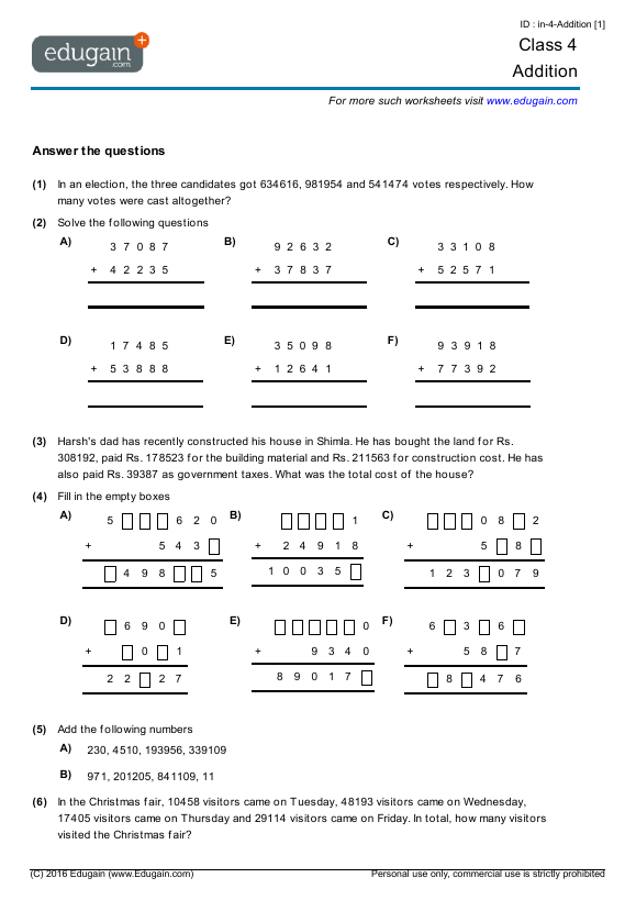 Grade 4 Math Worksheets and Problems Addition – Grade 4 Maths Worksheets Pdf