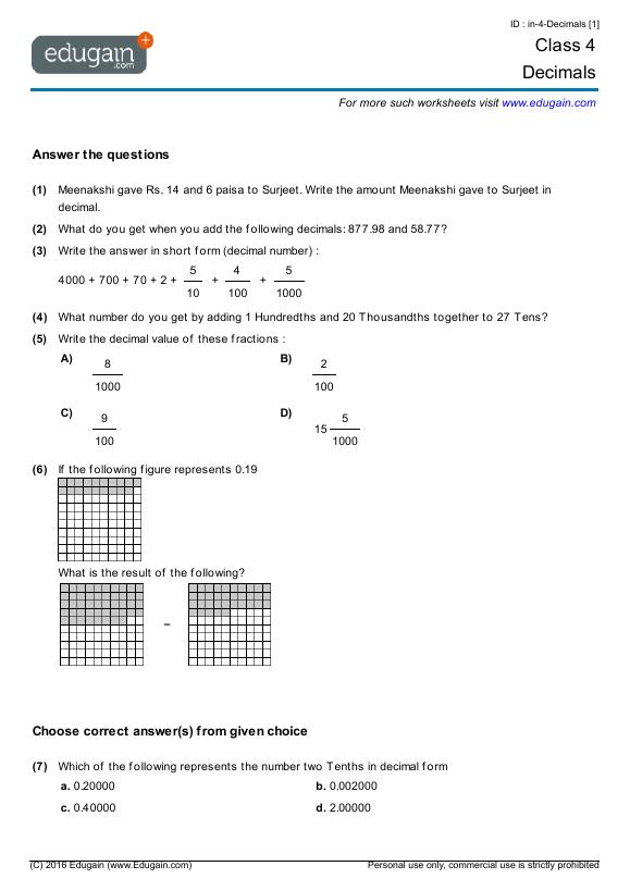 math worksheet : grade 4 math worksheets and problems decimals  edugain global : Grade 4 Math Worksheets Pdf