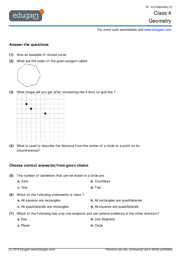 math worksheet : grade 4 math worksheets and problems geometry  edugain global : Grade 4 Math Geometry Worksheets