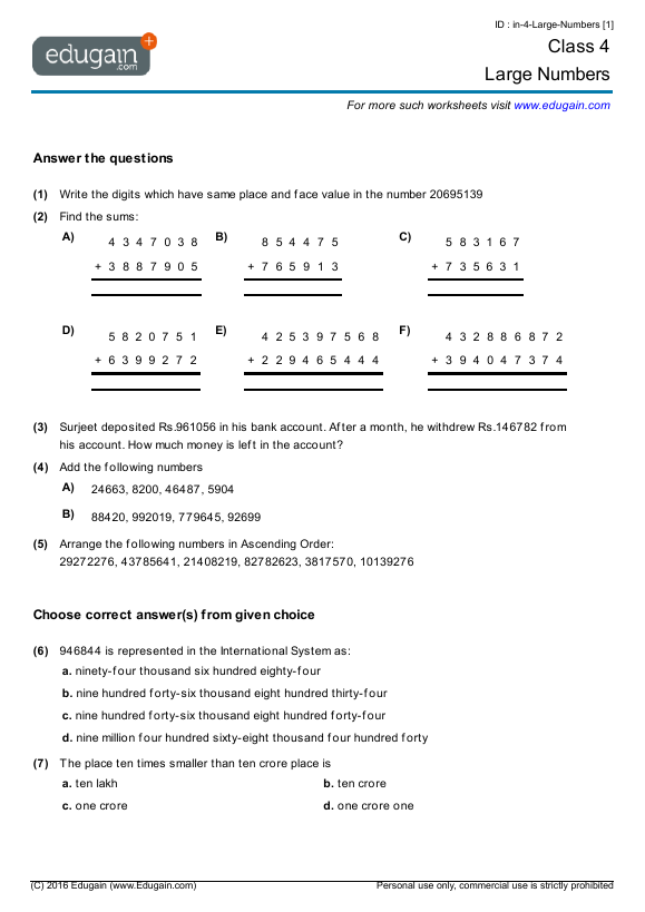 math worksheet : grade 4 math worksheets and problems large numbers  edugain global : Free Maths Worksheets For Class 4