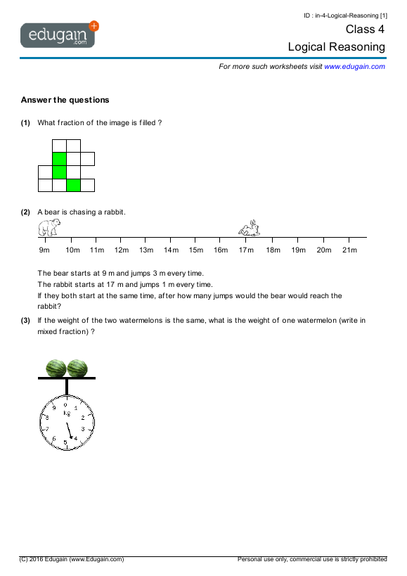 Grade 4 Math Worksheets and Problems: Logical Reasoning ...