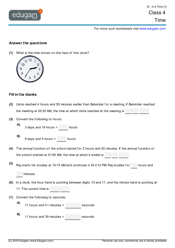 Grade 4 Math Worksheets and Problems Time – Math Worksheet for Grade 4