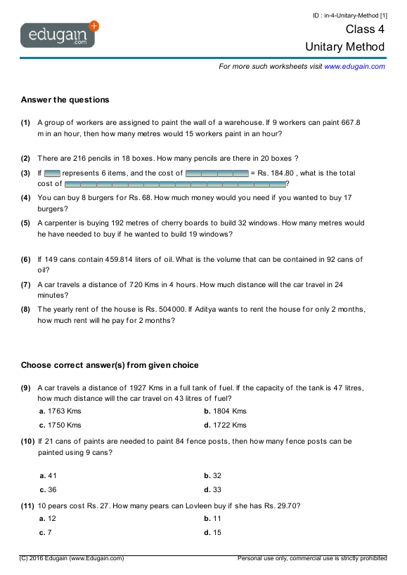 Grade 4 Math Worksheets and Problems Unitary Method – Math Worksheet for Grade 4