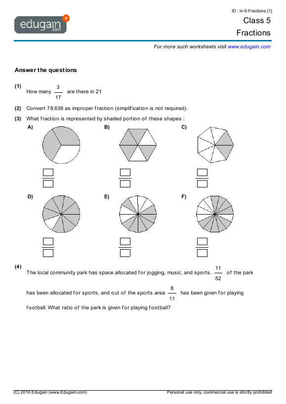 Grade 5 Math Worksheets and Problems Fractions – Grade 5 Maths Worksheet