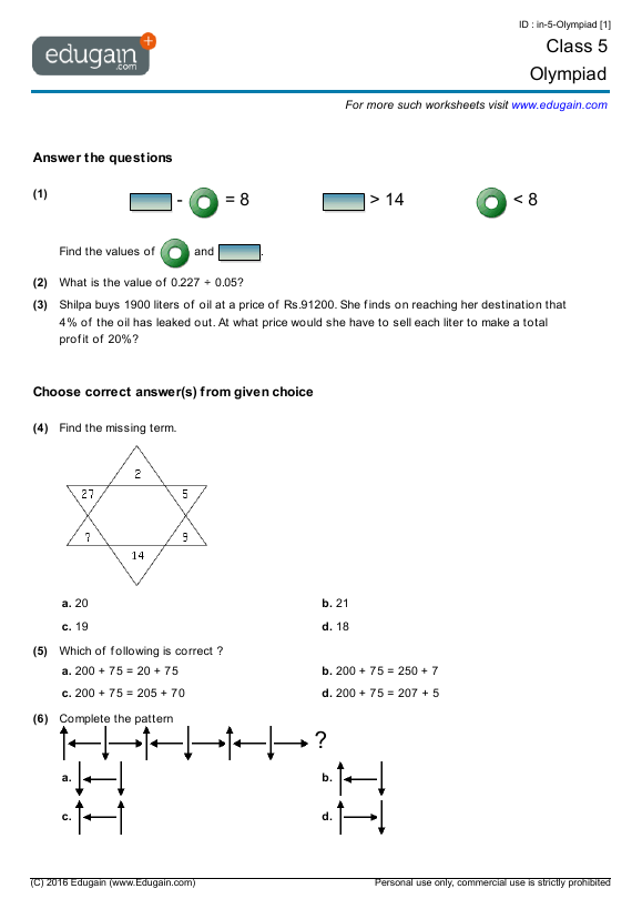 Grade 5 Olympiad Printable Worksheets Online Practice Online – Maths Worksheets for Class 5