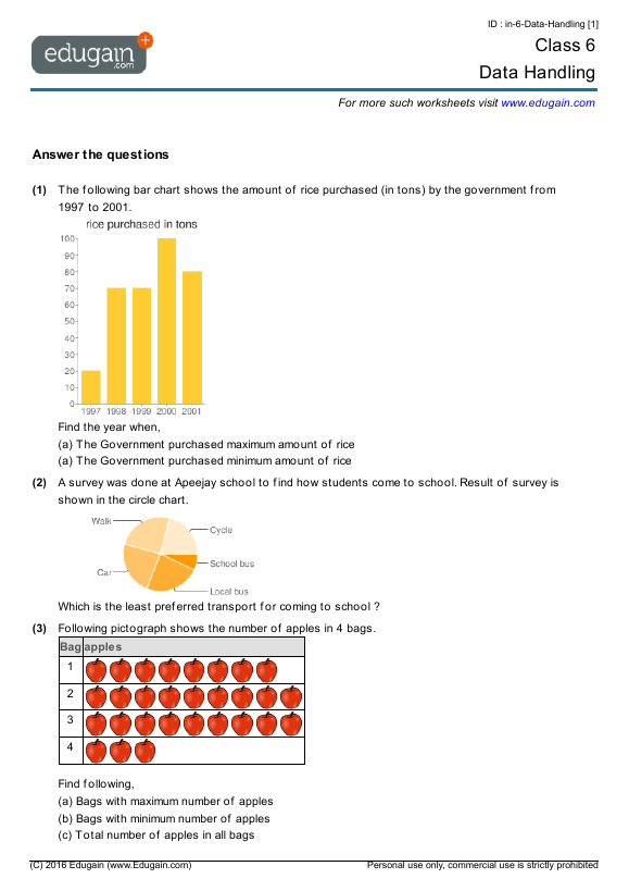Grade 6 Math Worksheets And Problems Data Handling Edugain Global