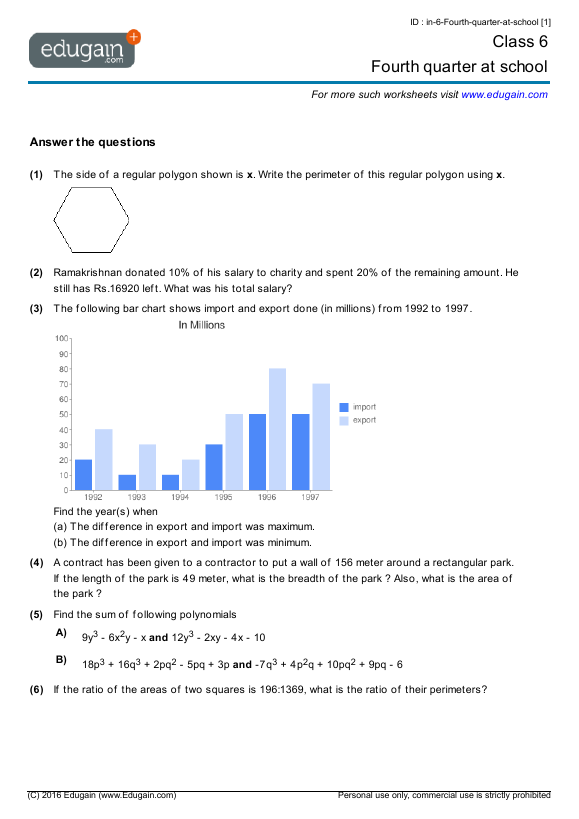 Grade 6 Math Worksheets and Problems Fourth quarter at school – Grade 6 Math Worksheets Printable