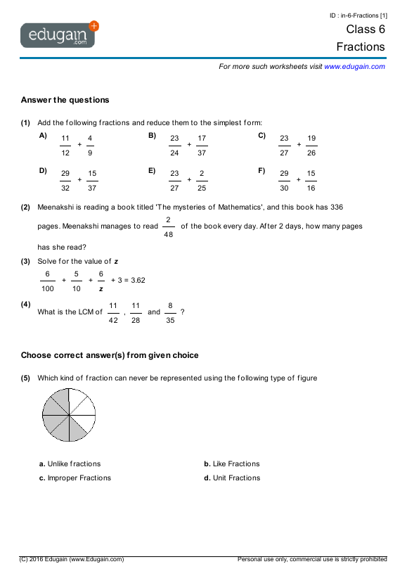 Grade 6 Math Worksheets and Problems: Fractions | Edugain USA