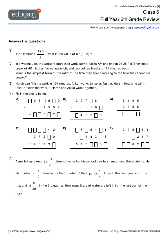 math worksheet : grade 6 math worksheets and problems full year 6th grade review  : Grade 6 Maths Worksheets