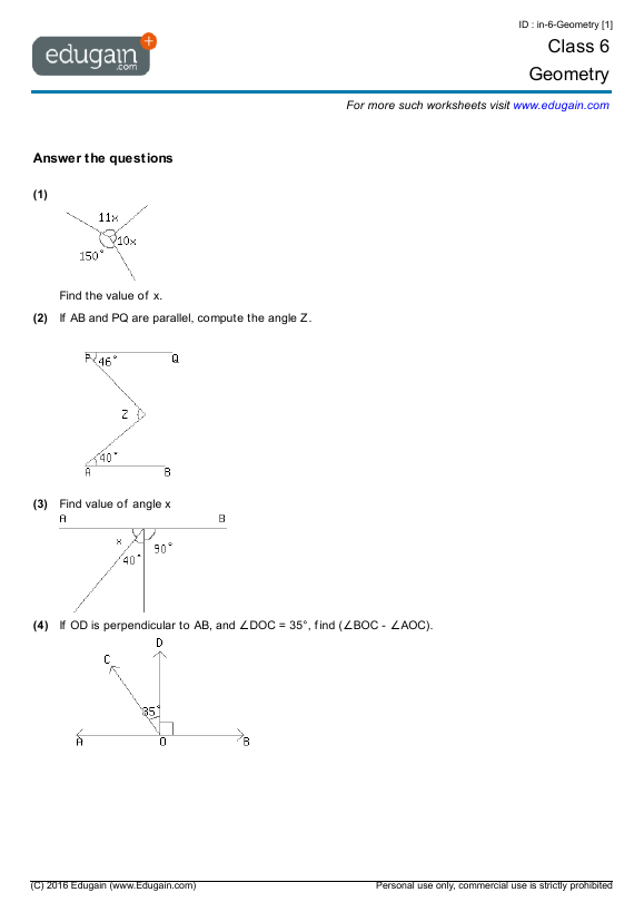 Grade 6 Math Worksheets and Problems Geometry – Math Worksheets Geometry