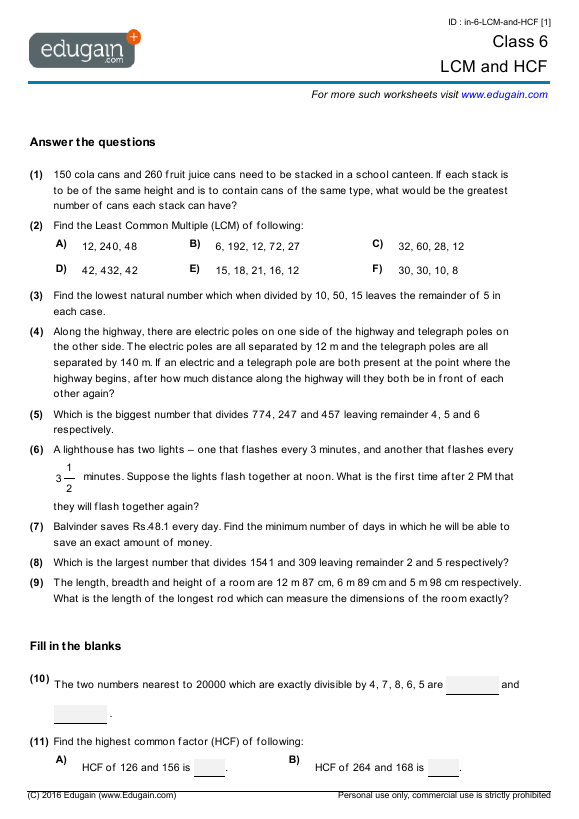 Grade 6 Math Worksheets and Problems LCM and HCF – Maths Worksheets for Class 7