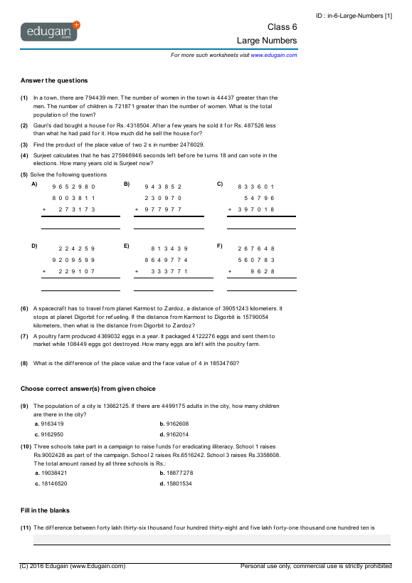 Grade 6 Math Worksheets and Problems Large Numbers – Maths Worksheets for Class 7