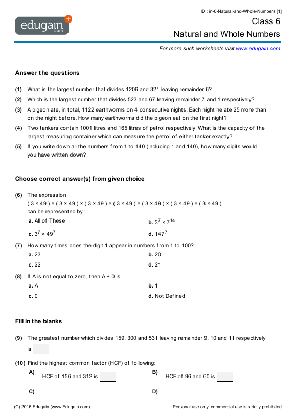 math worksheet : grade 6 math worksheets and problems natural and whole numbers  : Maths Worksheet For Class 6