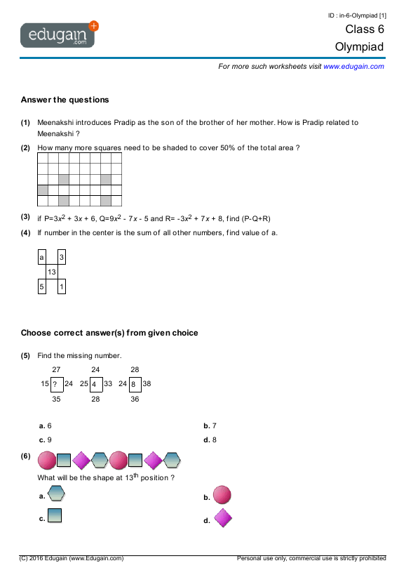 Grade 6 Olympiad Printable Worksheets Online Practice Online – Grade 6 Maths Worksheets Printable