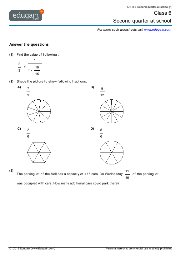 math worksheet : grade 6 math worksheets and problems second quarter at school  : Grade 6 Maths Worksheets