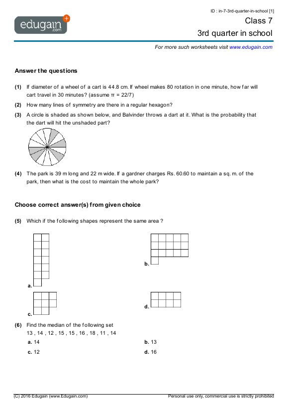 Grade 7 Math Worksheets and Problems 3rd quarter in school – Grade 7 Math Worksheet