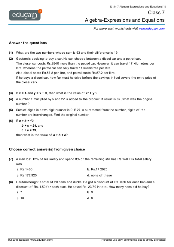 Grade 7 Math Worksheets and Problems AlgebraExpressions and – Algebra I Worksheets