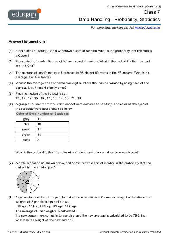 Grade 7 Math Worksheets and Problems Data Handling Probability – Math Worksheets for Grade 7 with Answer