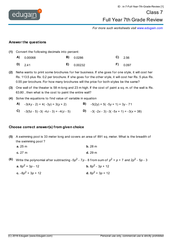 Grade 7 Math Worksheets and Problems Full Year 7th Grade Review – Math Seventh Grade Worksheets