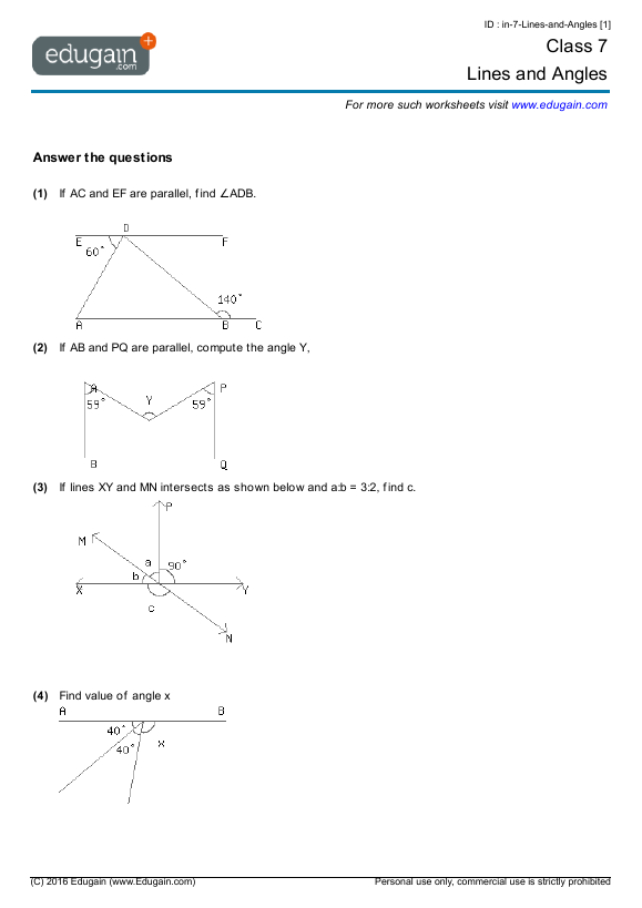 Grade 7 Math Worksheets and Problems Lines and Angles – Math Worksheets for Grade 7 with Answer