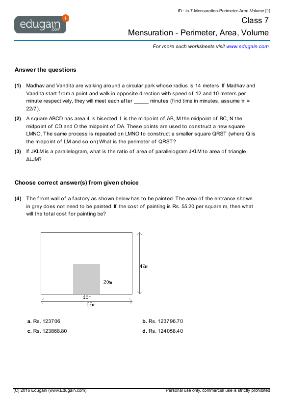 Grade 7 Math Worksheets and Problems Mensuration Perimeter – Math Worksheets Area