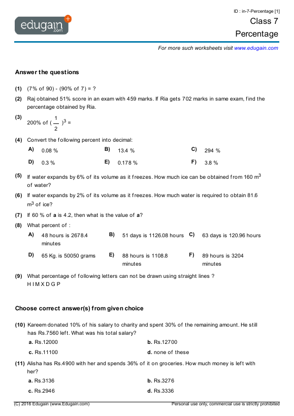 {Grade 7 Math Worksheets and Problems Percentage – Maths Worksheets for Class 7
