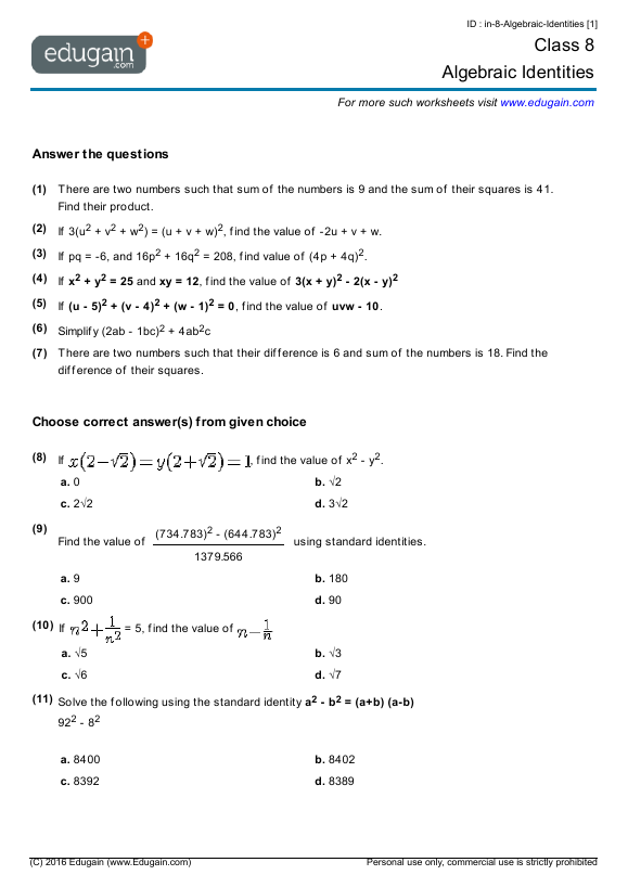 Grade 8 Math Worksheets and Problems Algebraic Identities – Math Worksheet for Grade 8