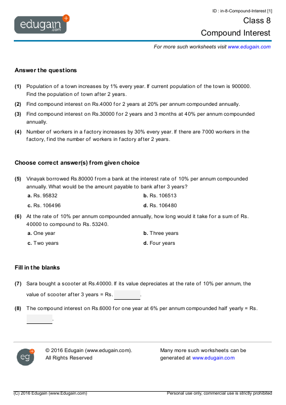 Grade 8 Math Worksheets and Problems Compound Interest – Maths for Grade 8 Worksheets