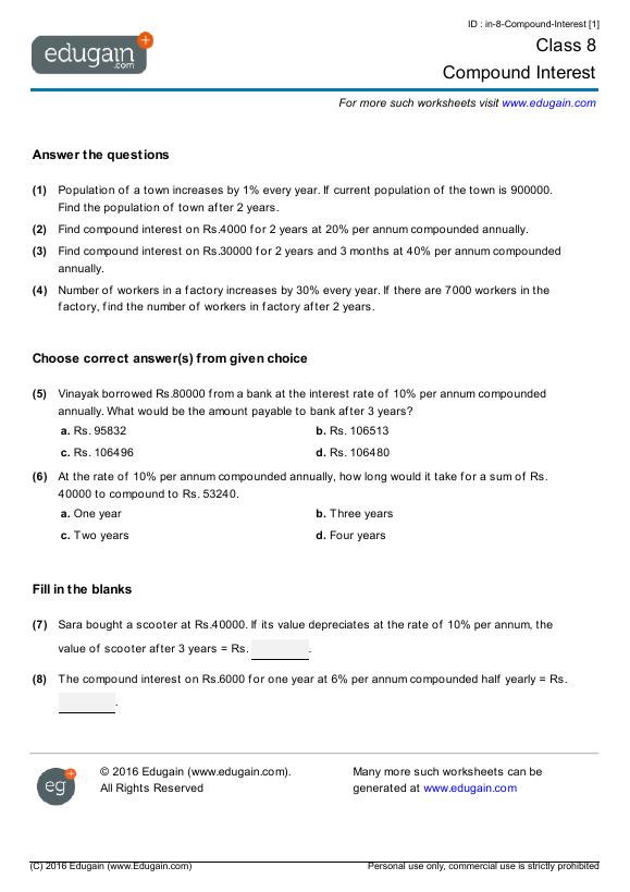math worksheet : grade 8 math worksheets and problems compound interest  edugain  : Grade 8 Math Worksheets Pdf