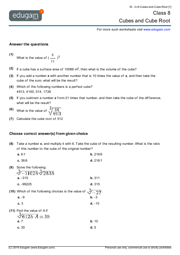 Grade 8 Math Worksheets and Problems Cubes and Cube Root – Math Cubes Worksheet