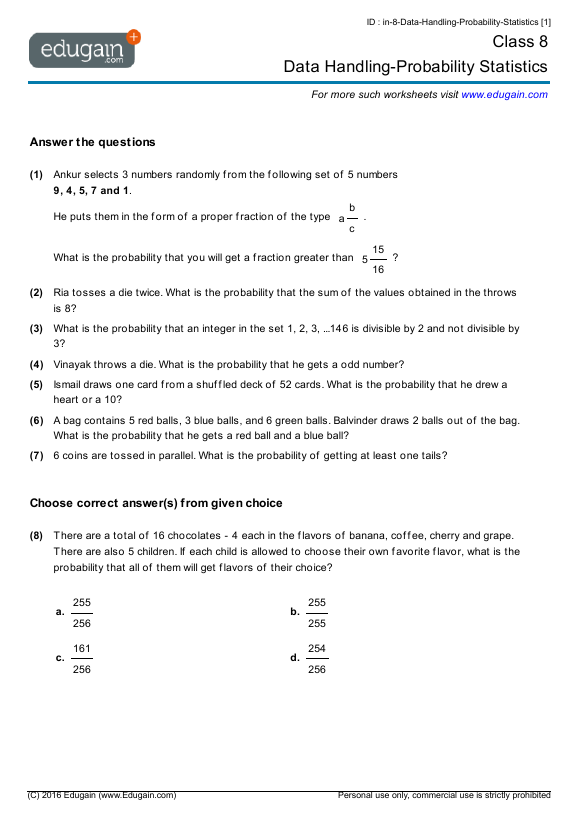 Grade 8 Math Worksheets and Problems Data HandlingProbability – Maths for Grade 8 Worksheets