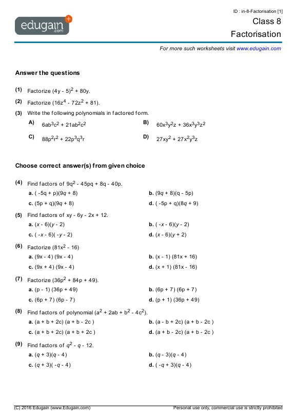 Grade 8 Math Worksheets and Problems Factorisation – Math Grade 8 Worksheets