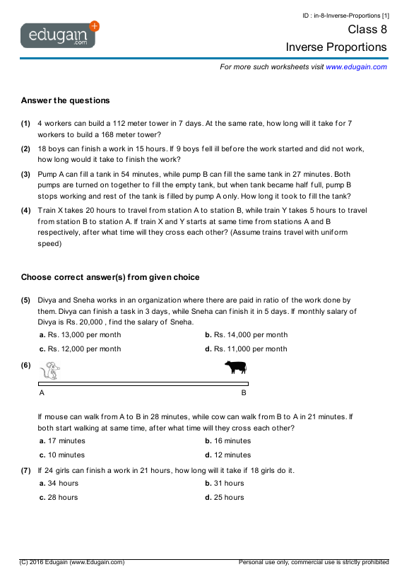 Grade 8 Math Worksheets and Problems Inverse Proportions – Grade Eight Math Worksheets