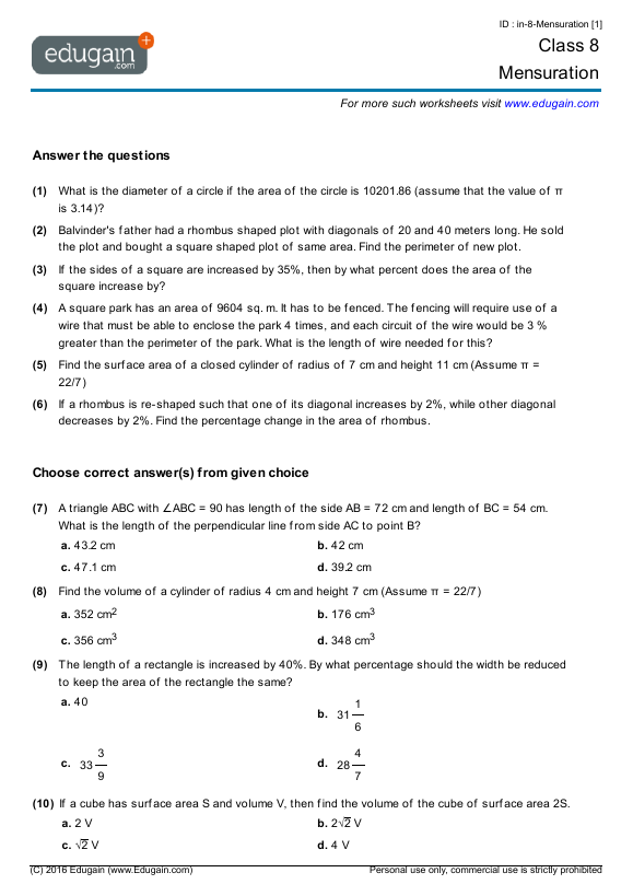 math worksheet : grade 8 math worksheets and problems mensuration  edugain global : Maths For Grade 8 Worksheets