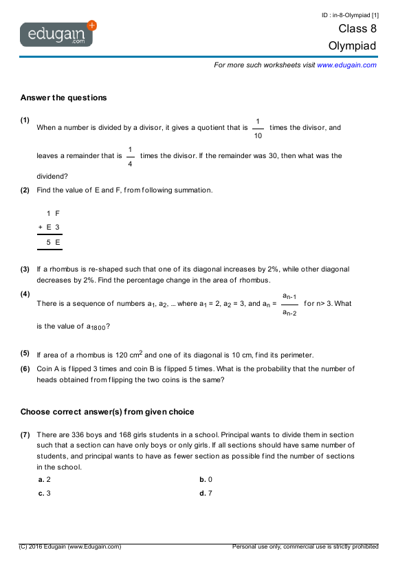 Grade 8 Olympiad Printable Worksheets Online Practice Online – Grade Eight Math Worksheets