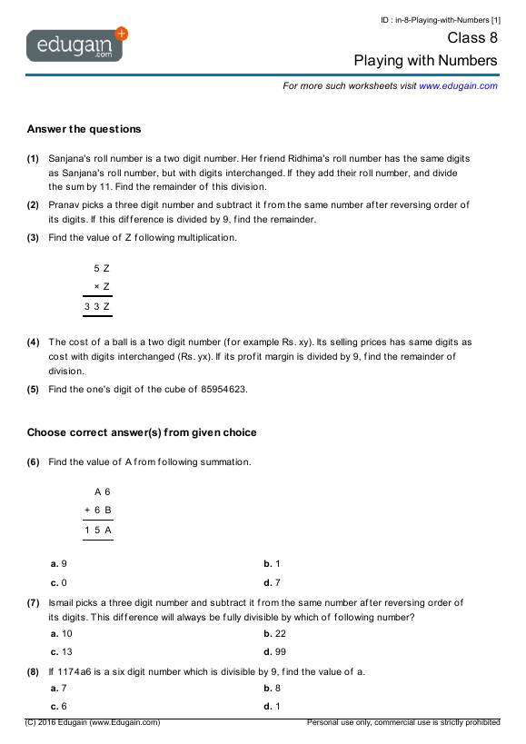 Grade 8 Math Worksheets and Problems Playing with Numbers – Maths for Grade 8 Worksheets