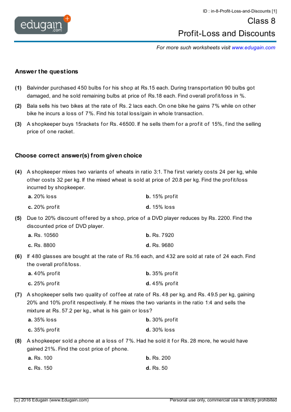 Grade 8 Math Worksheets and Problems ProfitLoss and Discounts – Grade 8 Math Worksheet