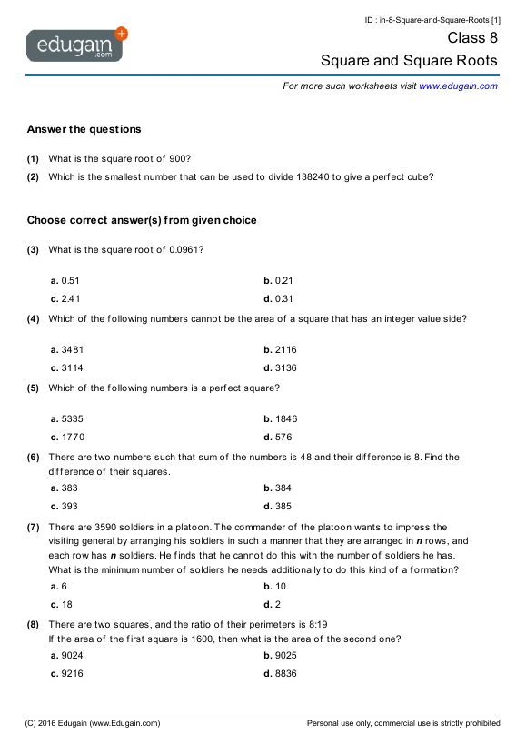Grade 8 Math Worksheets and Problems Square and Square Roots – Perfect Square Worksheet