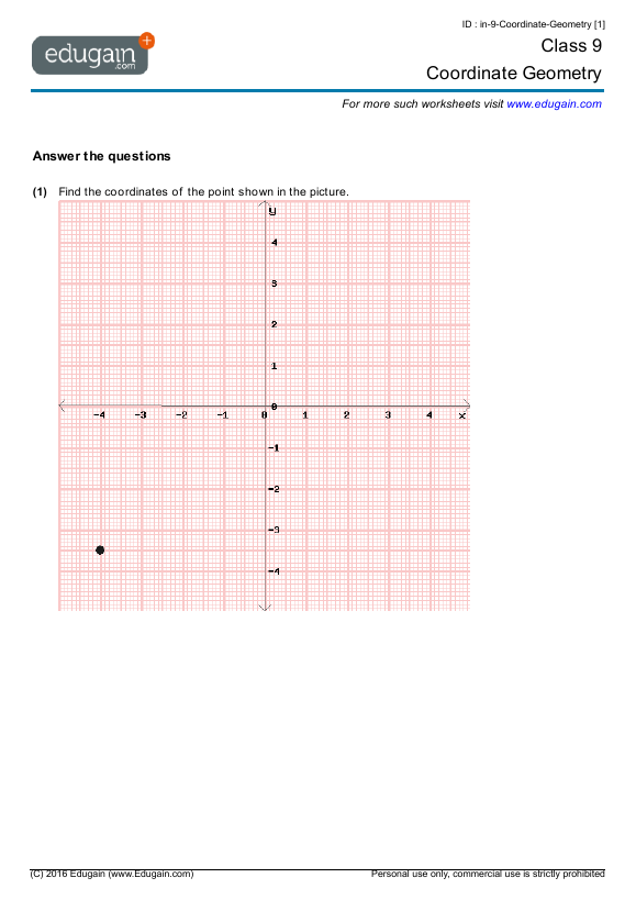 Grade 9 Math Worksheets and Problems Coordinate Geometry – Maths Coordinates Worksheets