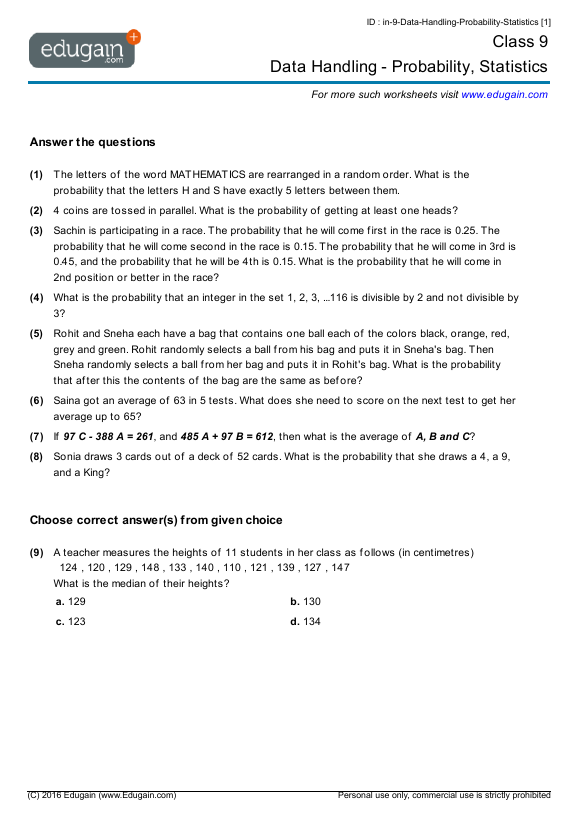Grade 9 Math Worksheets and Problems Data Handling Probability – Statistics Math Worksheets