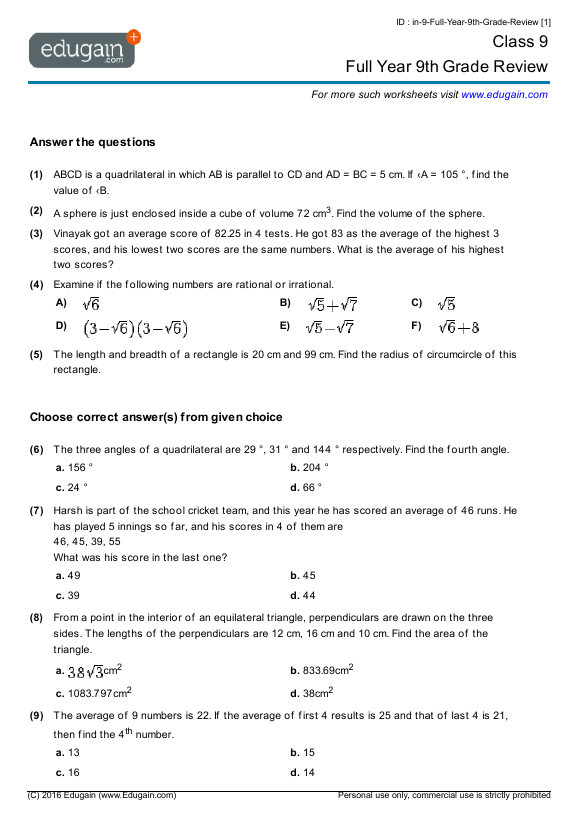 Worksheets Math Worksheets For 9th Graders grade 9 math worksheets and problems full year 9th review contents review