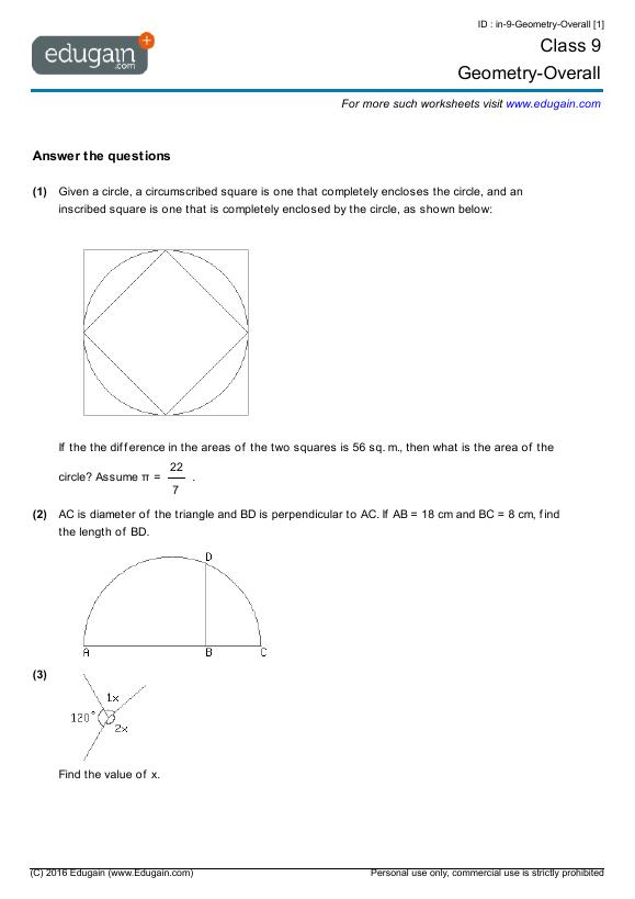 9th grade geometry worksheets pdf