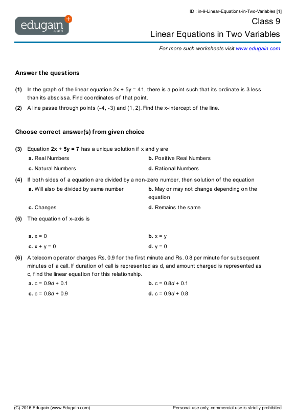 Grade 9 Math Worksheets and Problems Linear Equations in Two – Math Grade 9 Worksheets